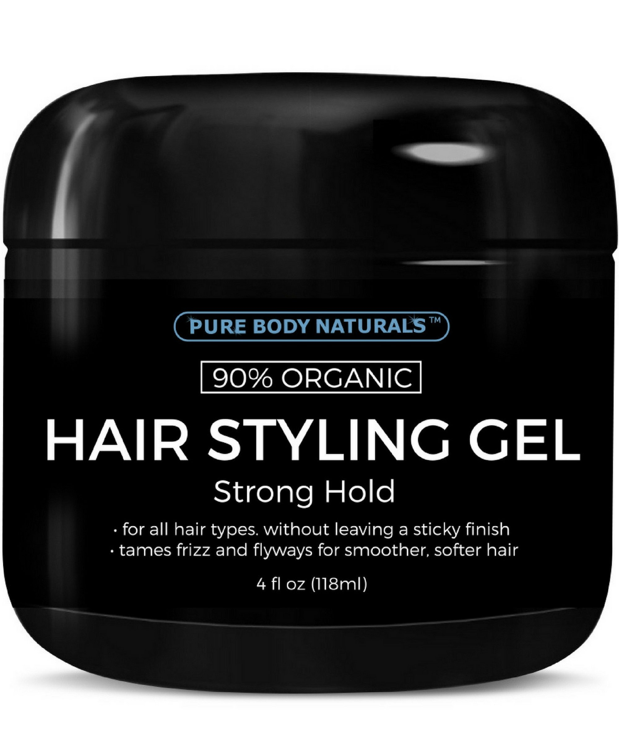 Hair Gel for Men, Strong Hold and Chemical Free with Hydrating Aloe For Firm, Healthy Hair by Pure Body Naturals, 4 Fl Ounce