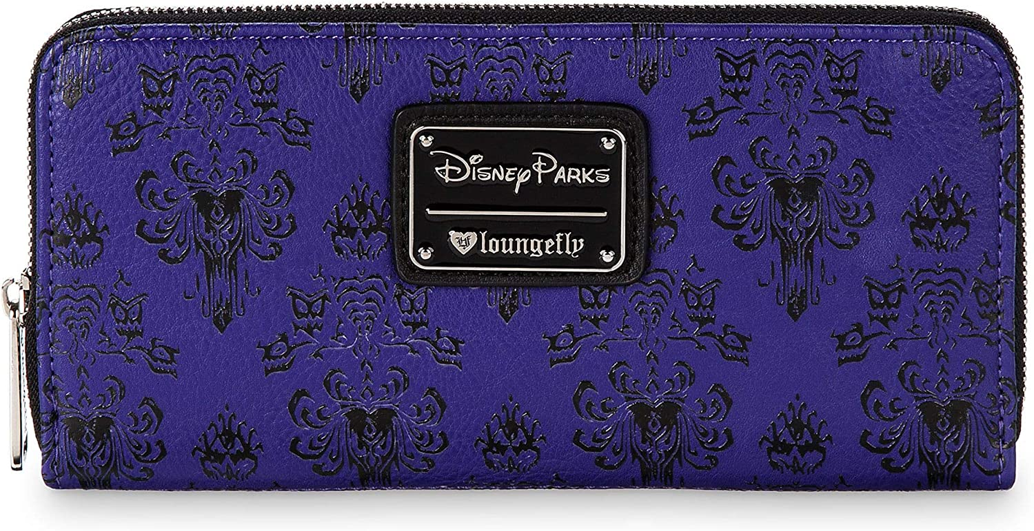 Disney Parks Loungefly Purple Haunted Mansion Wallpaper Wallet
