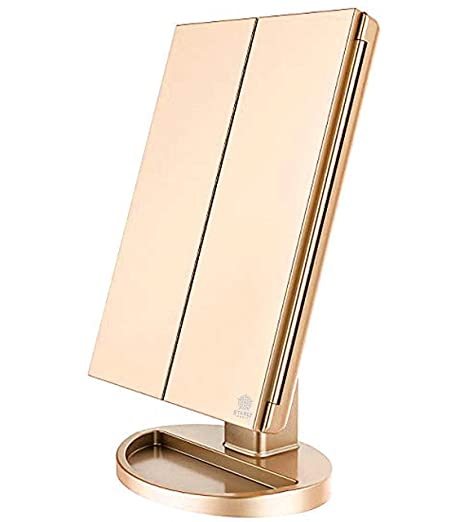 Tri-Fold Lighted Vanity Makeup Mirror with 21 LED Lights, Touch Screen and 10X / 3X / 2X / 1X Magnification Mirror, Two power Supply Mode Tabletop Makeup Mirror,Travel Cosmetic Mirror (gold)