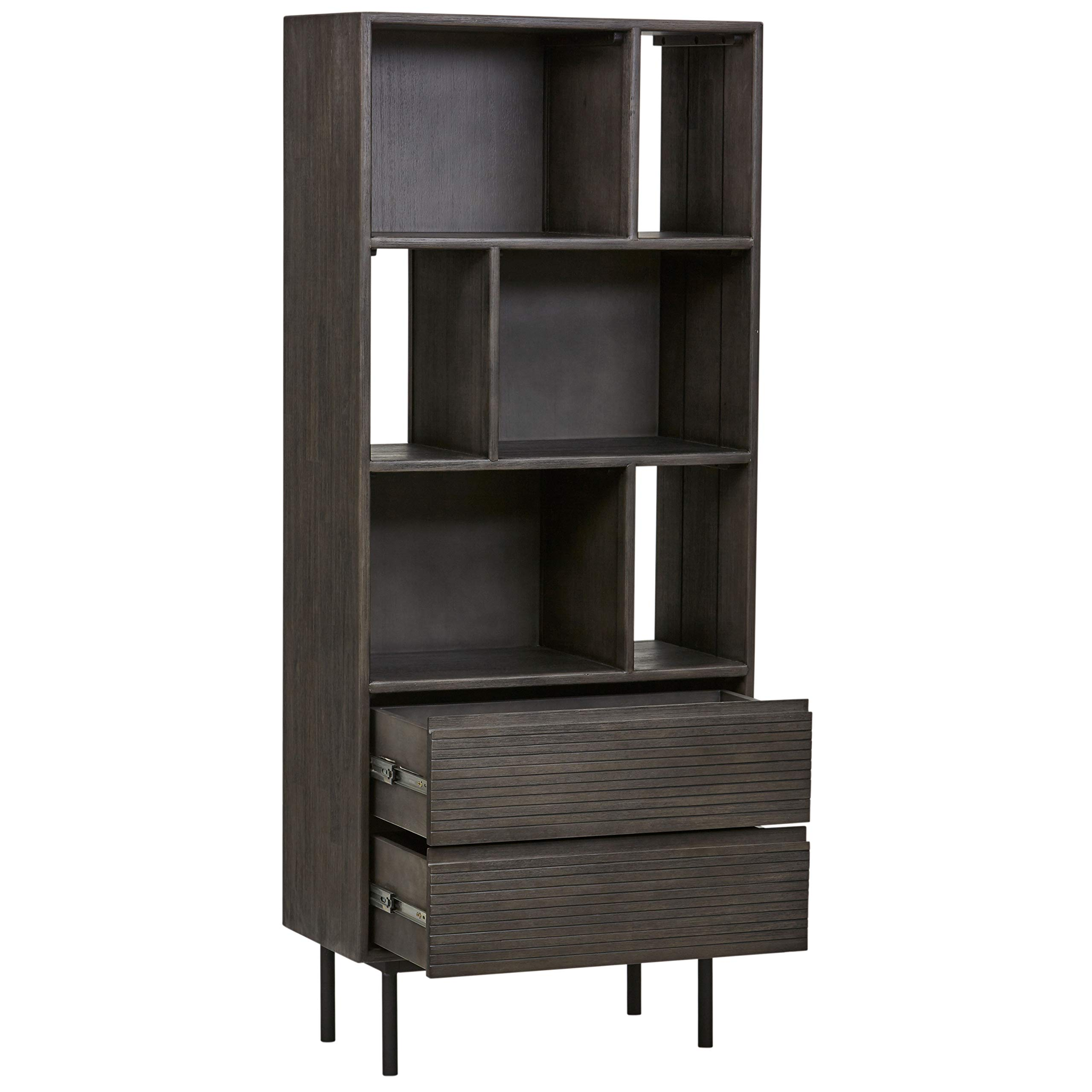 Rivet Stevens Modern Bookcase, 27.56''W, Acacia, Brushed Tundra Gray by Rivet (Image #7)