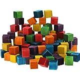 Mini Square Wood Craft Cube Blocks in 6 Colors (0.6 x 0.6 x 0.6 In, 100 Ct)