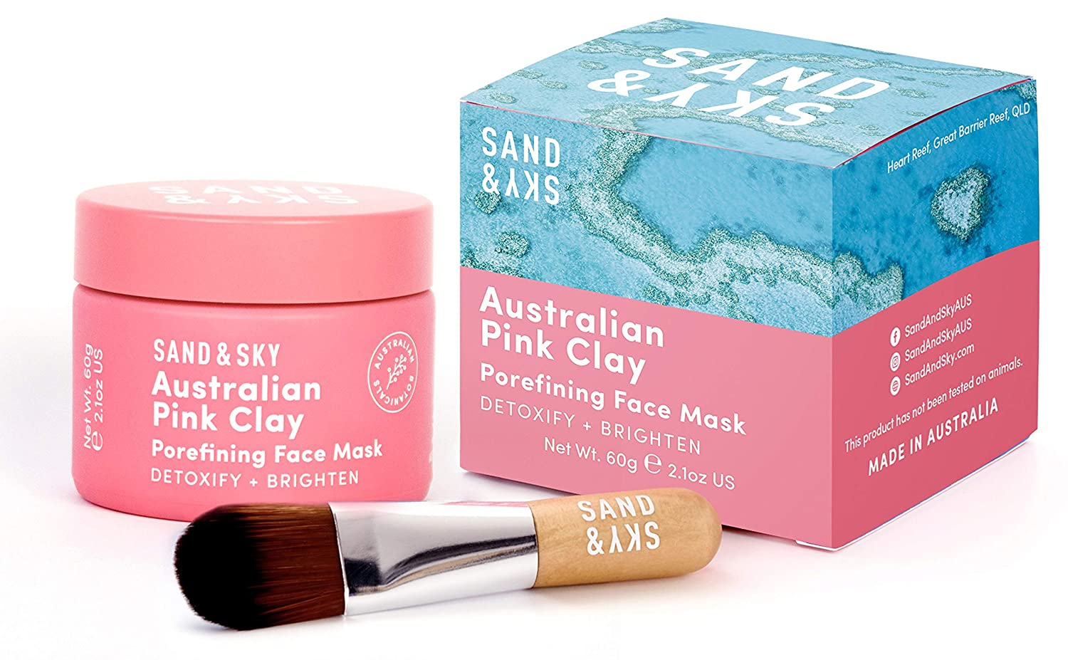Sand & Sky Australian Pink Clay Face Mask with BONUS Face Mask Brush
