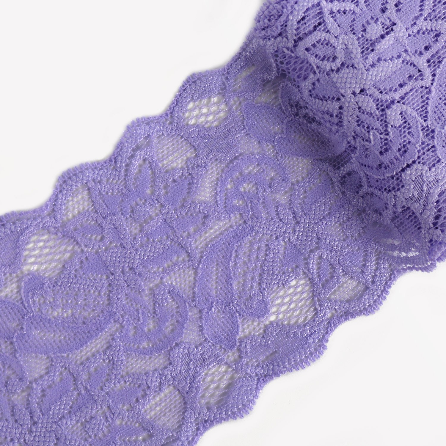 Solid Lace Fabric for Craft Laribbons 3 inch Floral Elastic Lace Trim Lavender 10 Yard