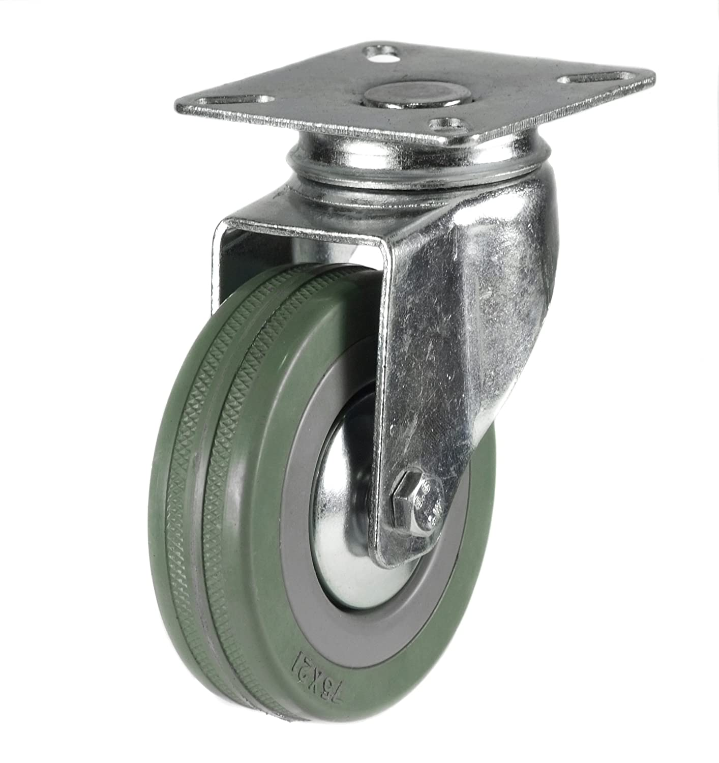 75mm top plate swivel castor grey wheel Coldene Castors Ltd