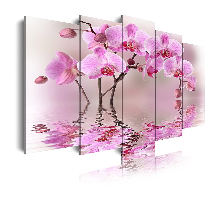 Dekoarte 71 - Quadro moderno su tela montato su telaio in legno di 5 pezzi, natura fiori rosa con riflesso sull'acqua, 150x80 cm