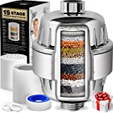 AquaHomeGroup 15 Stage Shower Filter with Vitamin C for Hard Water - High Output Shower Water Filter to Remove Chlorine and F