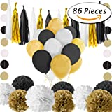 Paxcoo 86 Pcs Black and Gold Tissue Paper Pom Poms Tassel Garland and Balloons for Birthday Party Decorations