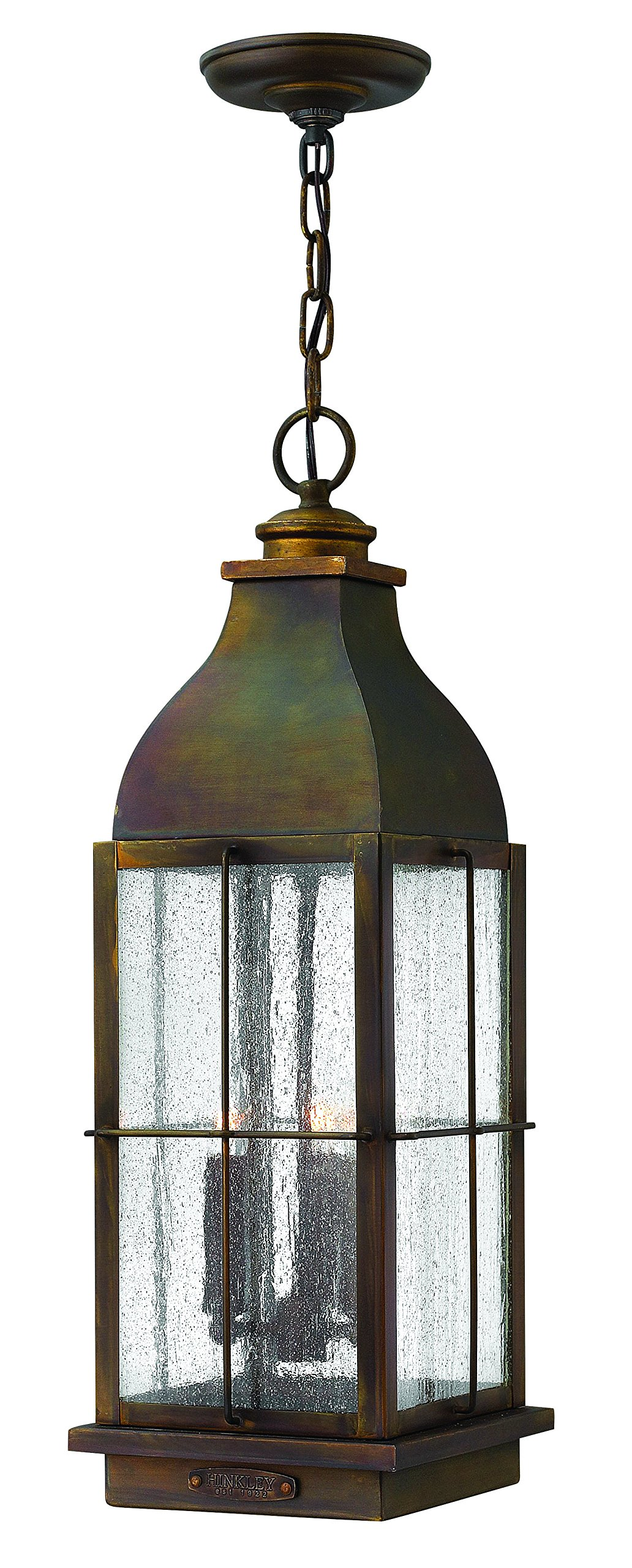 Hinkley 2042SN Restoration Three Light Hanging Lantern from Bingham collection in Bronze/Darkfinish,