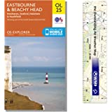 Ordnance Survey Pack - Explorer Map 123 ~ Eastbourne & Beachy Head plus scale ruler