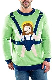 Tipsy Elves Men's Ugly Christmas Sweater Censored Santa