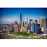 Papier Peint Photo Mural-MANHATTAN SKYLINE (36P)-350x260cm 7 lés (chague 50x260cm)-IMPRESSION NUMÉRIQUE haute qualité photoréaliste!-La Colle Inclus-Poster Géant XXL New York One World Trade Center Ville Hudson River États-Unis USA