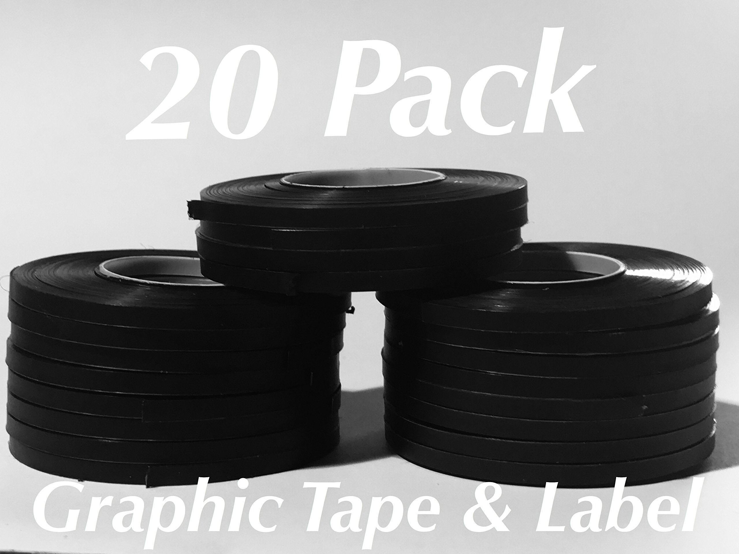 20 Pack Black Graphic Chart Tape (Matte,Glossy,Crepe) (Black Vinyl Matte) by Chart Tape Black (Image #1)