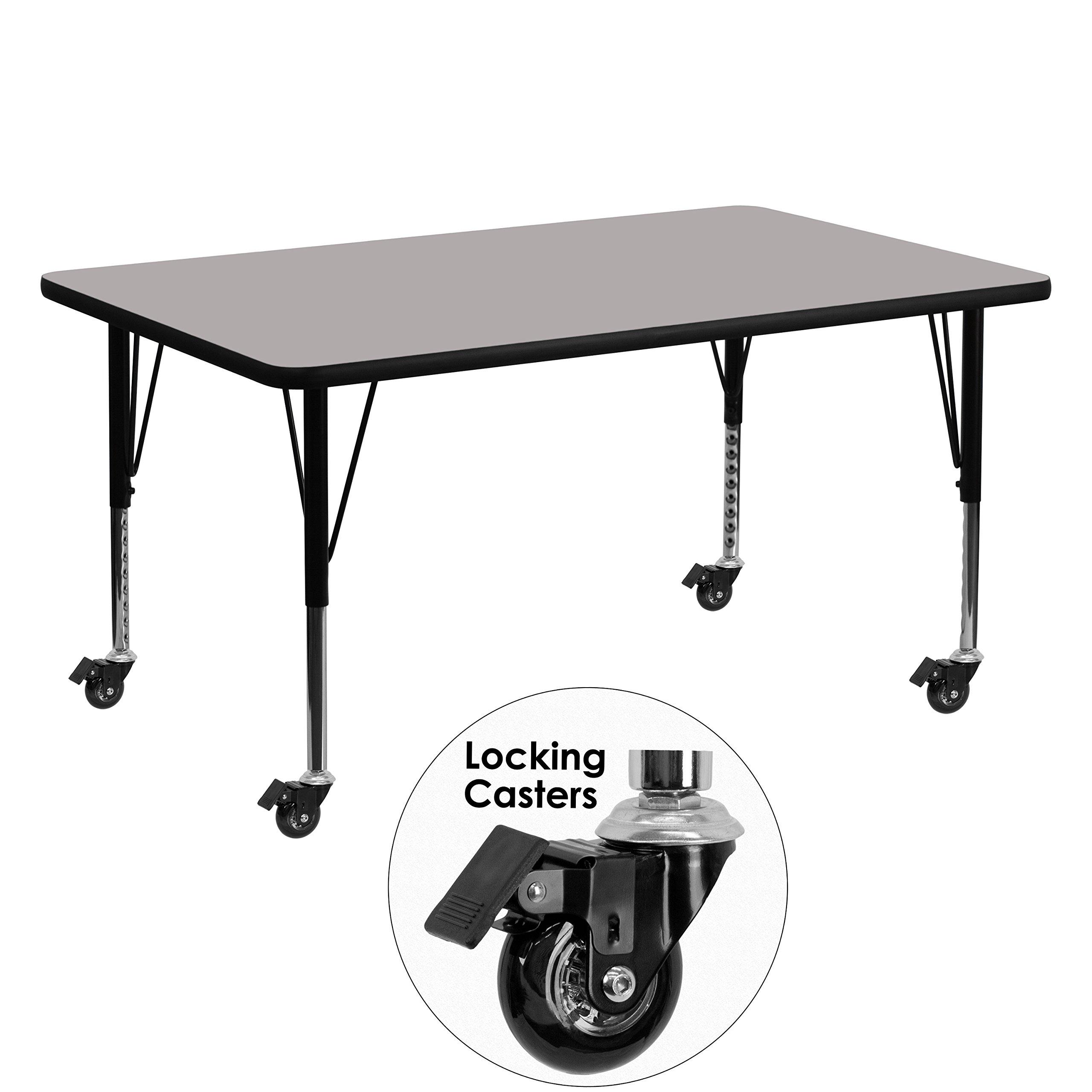 Flash Furniture Mobile 30''W x 60''L Rectangular Grey HP Laminate Activity Table - Height Adjustable Short Legs