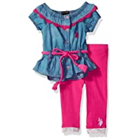 U.S. Polo Assn. Baby Girls Fashion Top and Legging Set