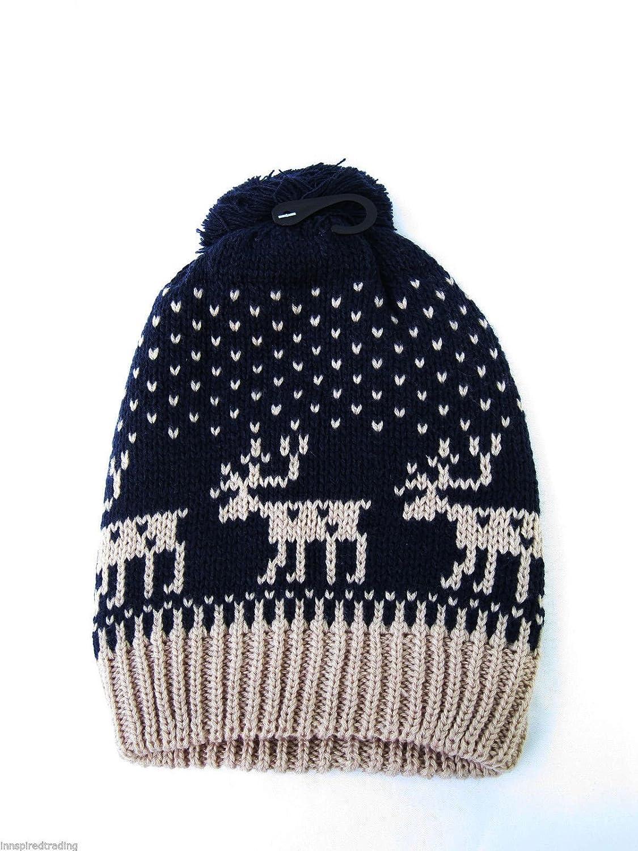 Damen Strick Fair Isle Schneeflocke Weihnachts-Mütze der Frauen Xmas Reindeer Wolle ski Bommelmütze one size