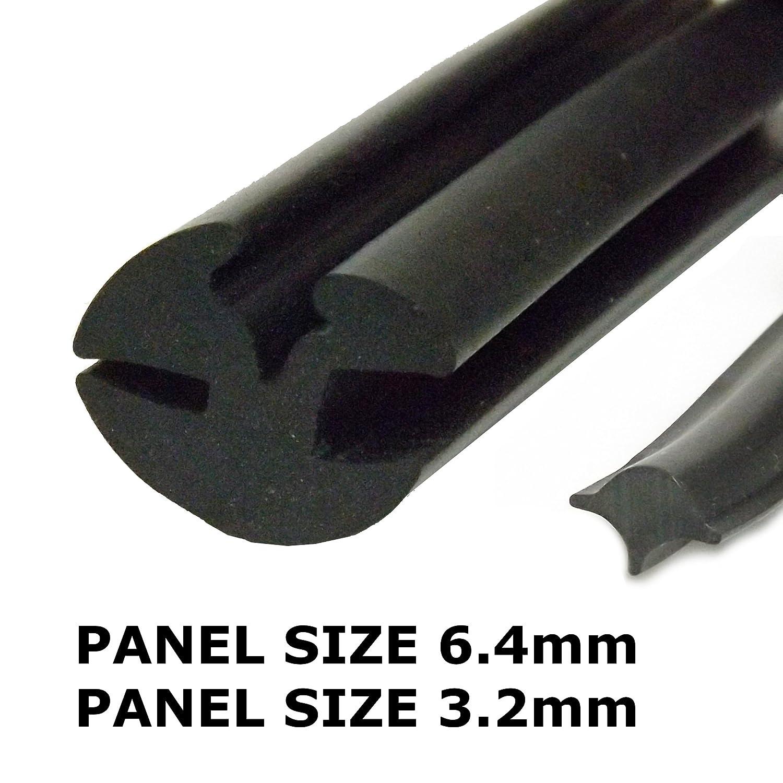 Claytonrite Guarnizione da finestra in gomma da 6,4 mm a 3 mm, con striscia di riempimento The Metal House