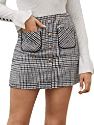 WDIRARA Women's Elegant Plaid High Waist Double Breasted Tweed Mini Pencil Skirt