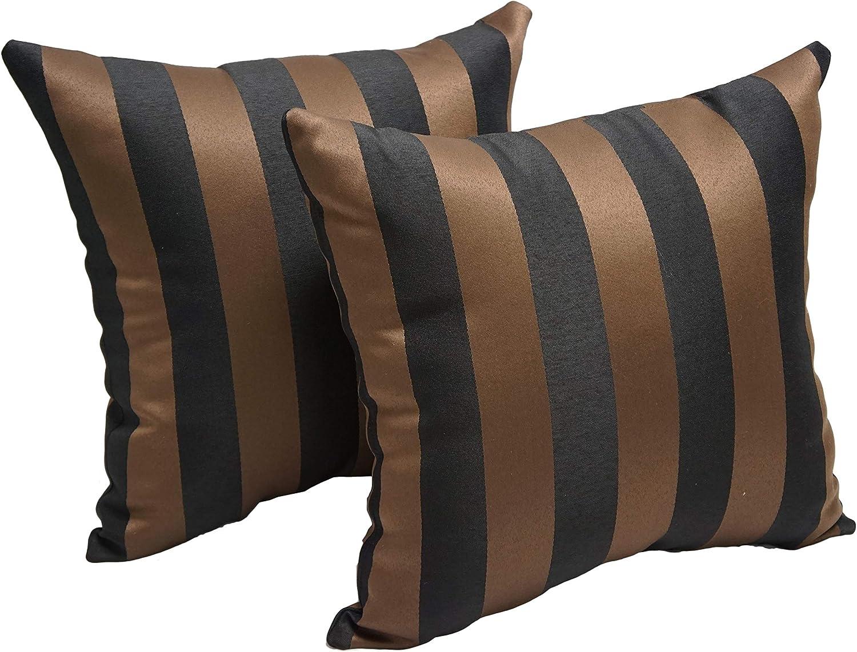 Amazon Com Blazing Needles Chocolate Stripe 17 Inch Indoor Outdoor Throw Pillow Set Of 2 17 X 17 Brown Garden Outdoor