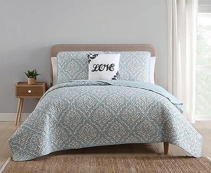 Amazon 4 Piece Deniro Aquawhite Quilt Set King Home Kitchen
