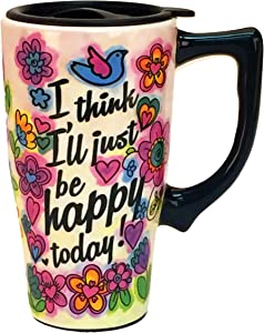 Spoontiques I Think I'll Just Be Happy Today Ceramic Travel Mug, 18 oz, Multicolor