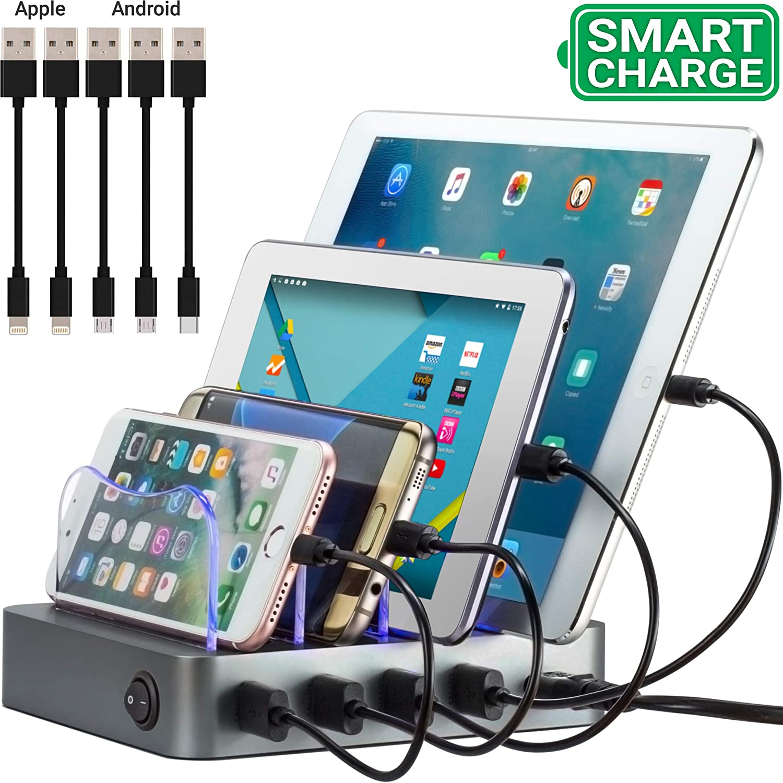 Simicore Estación de Carga Inteligente y Organizador para Smartphones, tabletas y Otros Dispositivos – Cargador USB Compacto y estación de Acoplamiento para teléfono con indicador de Estado de Carga: Amazon.es: Electrónica