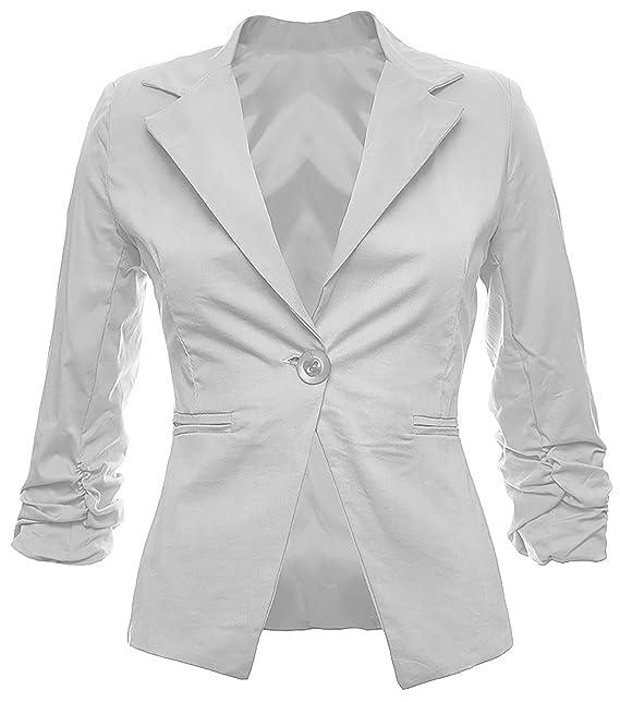 Elegante americana para mujer, chaqueta de algodón gris 36 ...