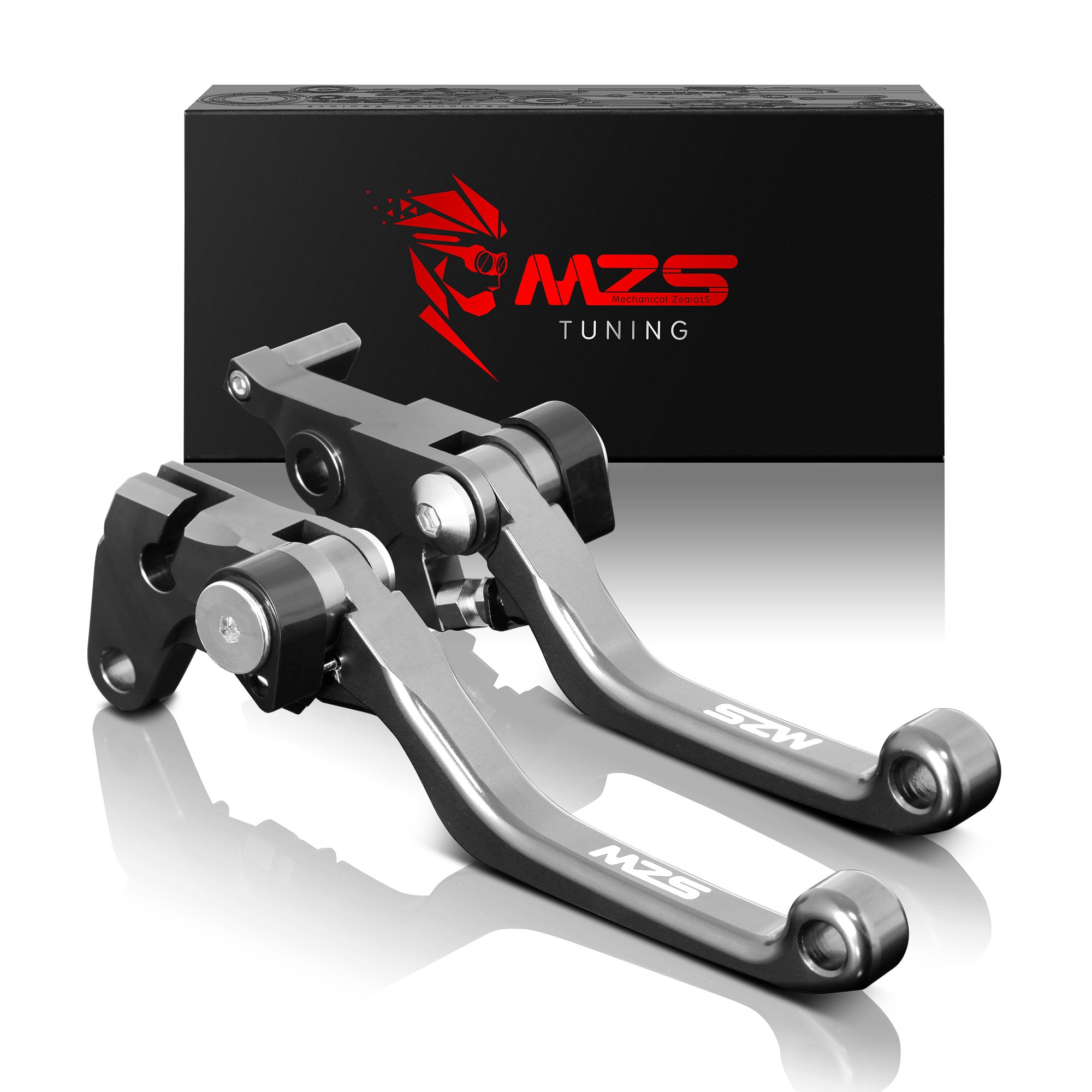 MZS Pivot Levers Brake Clutch Foldable CNC for Honda CRF150F CRF 150F 2003-2018/ CRF230F CRF 230F 2003-2018 (Gray) by MZS
