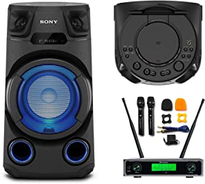 Sony MHC-V13 High Power Audio System with Wireless Microphone System Set Bundle (2 Items)