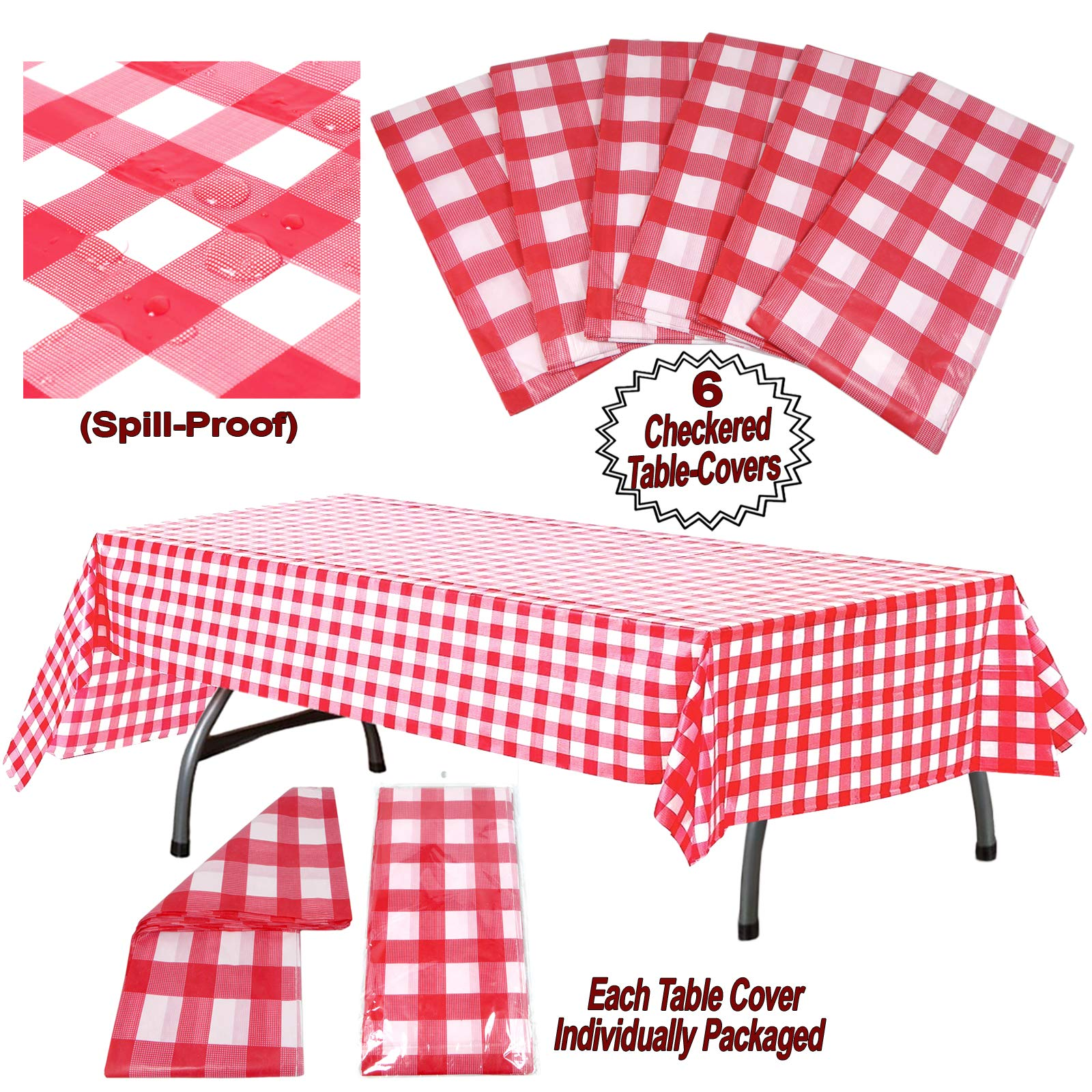Plastic Checkered Tablecloth | 6 Pcs Pack - 54'' Wide x 108'' Long | Red and White Picnic Disposable Table Cover | Rectangular Gingham Tablecover for Birthdays, Carnivals, Parties | By Anapoliz by Anapoliz (Image #3)