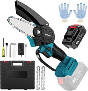 Avhrit Mini chainsaw-Battery Operated Chainsaw Cordless w/ 21V 3.0Ah Battery & Fast Charger,4-Inch Electric Pruning Chain Saw with Replacement Chain,One-Handed Electric Chainsaw-Tool-Free Installation