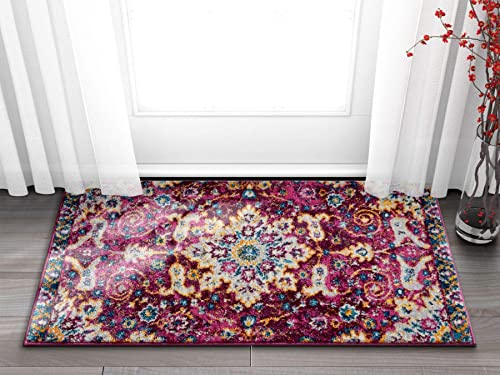 Well Woven Celestial Boho Medallion 2×4 2 3 x 3 11 Area Rug Purple Distressed Traditional Vintage Floral Oriental