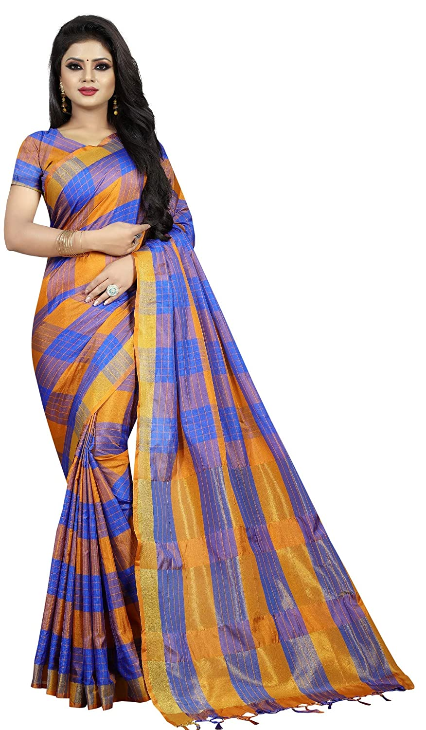 1649dfb08dd9ce Online Bazaar Blue Art Silk Women Saree (Includes Blouse Piece)  Amazon.in   Clothing   Accessories