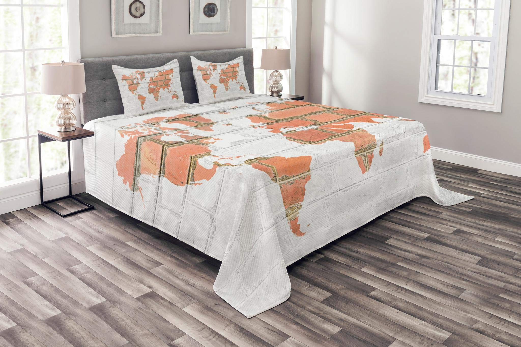 Lunarable Brick Wall Bedspread Set Queen Size, World Atlas Map on Grunge Style Red Brick Wall Continent Retro Abstract Art, Decorative Quilted 3 Piece Coverlet Set with 2 Pillow Shams, White Tile Red