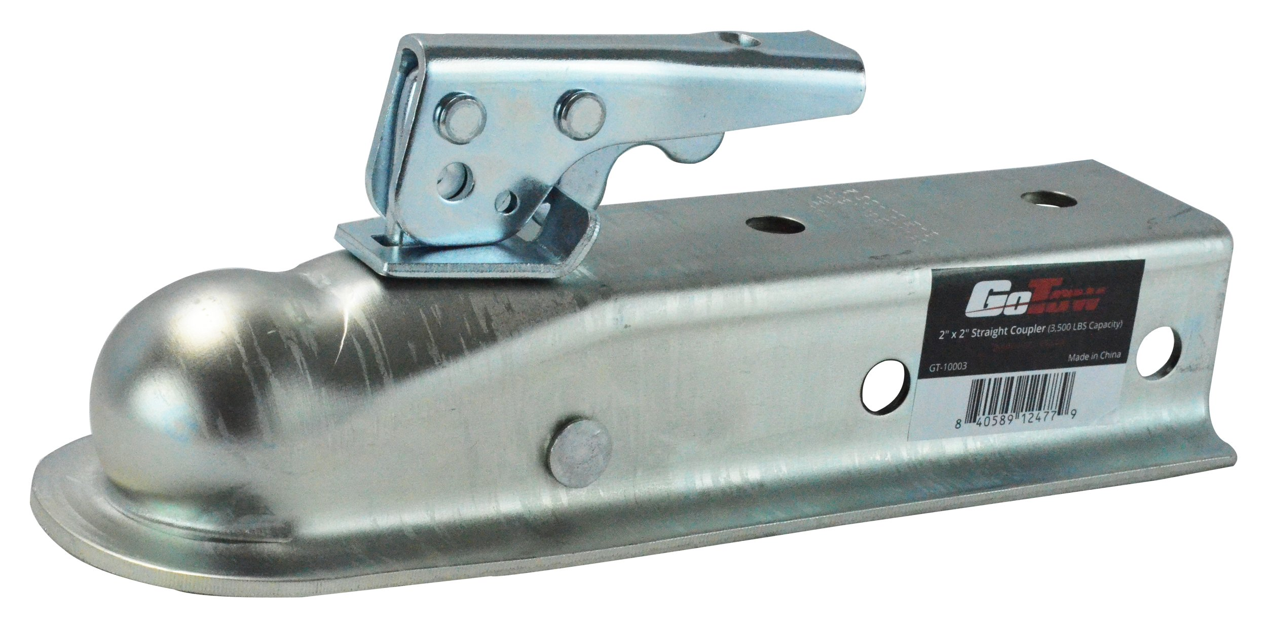 GoTow GT-10003 Silver 2'' Hitch Ball 2'' Channel Straight Coupler, Class 2-for Towing RV, Boat, Camper w/GTW of 3500lbs by GoTow