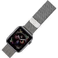 Pulseira Apple Watch Milanese, 42/44mm, Series 0 até Series 5, Aço Inoxidável, Prata, Geonav