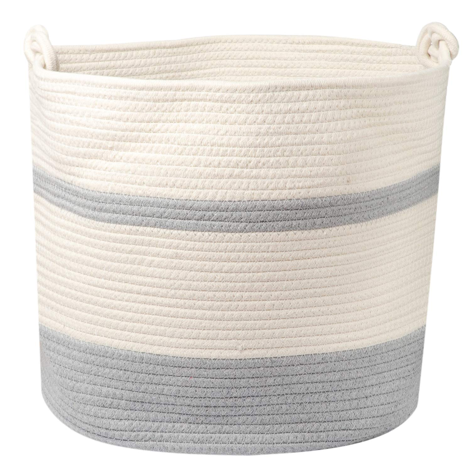 Extra Large Cotton Rope Basket 17'' x 14.5''. Woven Large Cotton Basket for Storage - Blankets, Toys, Laundry, etc. with Comfortable Handle and Strong Stitching to Ensure Highest Quality. by Shaah