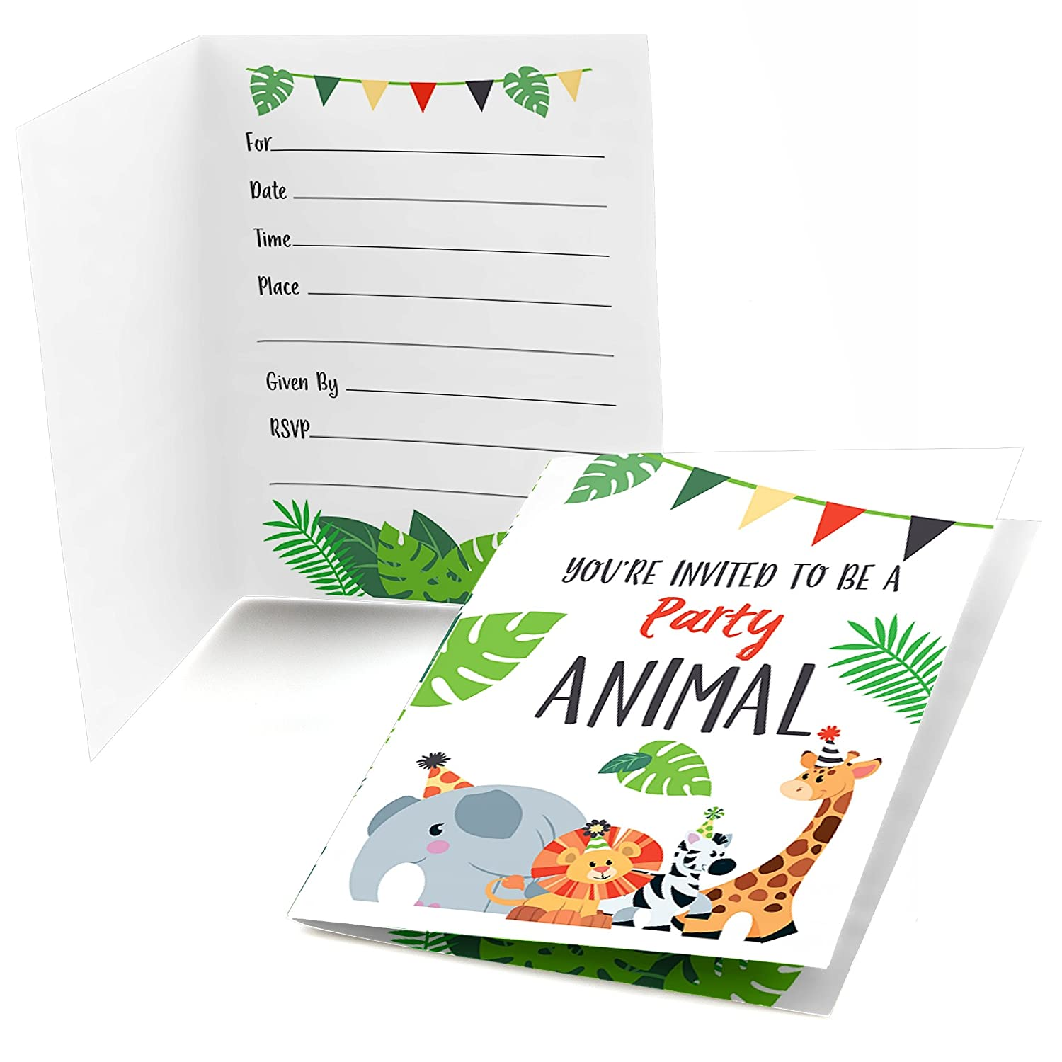 Big Dot of Happiness Jungle Party Animals Fill in Safari Zoo Animal Birthday Party or Baby Shower Invitations 8 Count