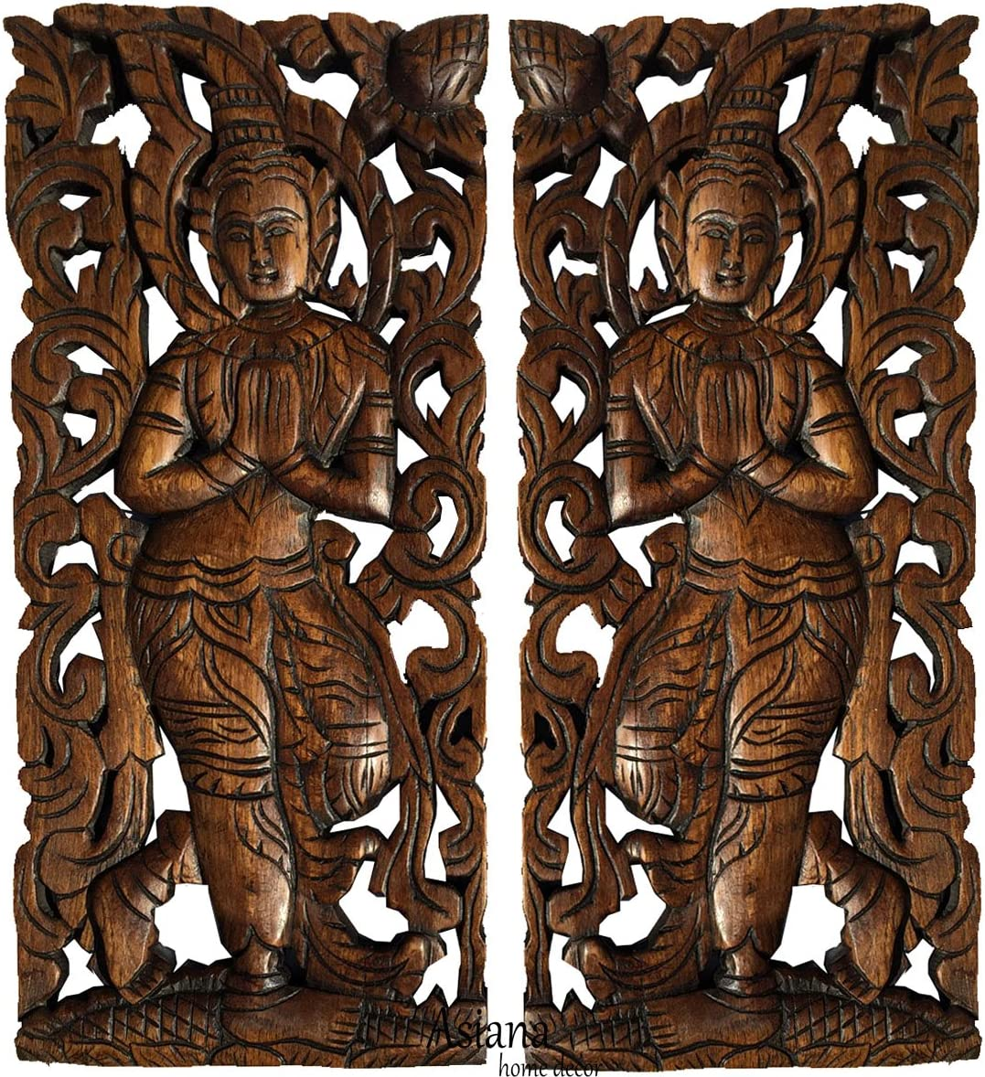 "Sawaddee Wall Sculpture. Thai Wood Wall Art - Asian Carved Wood Wall Decor Size 17.5""x7.5""x1 Each, Set of 2 Pcs."