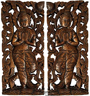 Sawaddee Wall Sculpture. Thai Wood Wall Art   Asian Carved Wood Wall Decor  Size 17.5 Part 91