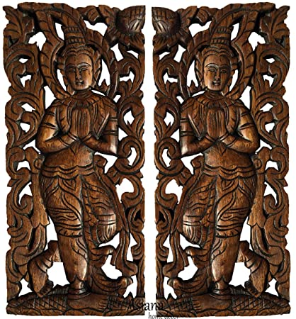 Amazon.com: Sawaddee Wall Sculpture. Thai Wood Wall Art - Asian ...