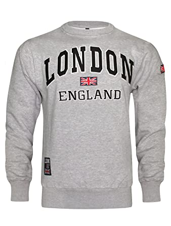 15298d13 Mens London England Sweatshirt Pullover (Grey/Navy, Small): Amazon.co.uk:  Clothing