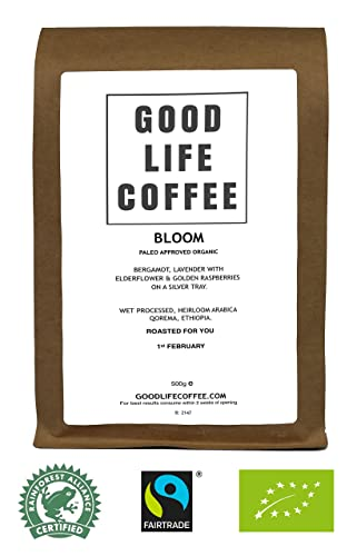 GOOD LIFE - BLOOM Paleo Approved, 100% Coffee, Bulletproof Optimised, Premium Roasted Coffee from Qorema, Ethiopia, Roasted to Order, Award Winning Single Origin Arabica Coffee Beans, Low Acidity Coffee - Impossibly Delicious Taste (500g Whole Bean)