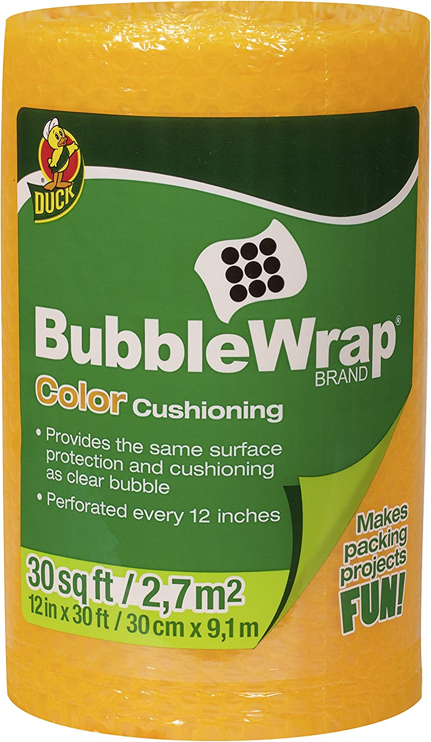 Orange Duck Brand Bubble Wrap Color Cushioning Single Roll 12 Inches Wide x 30 Feet Long 282477
