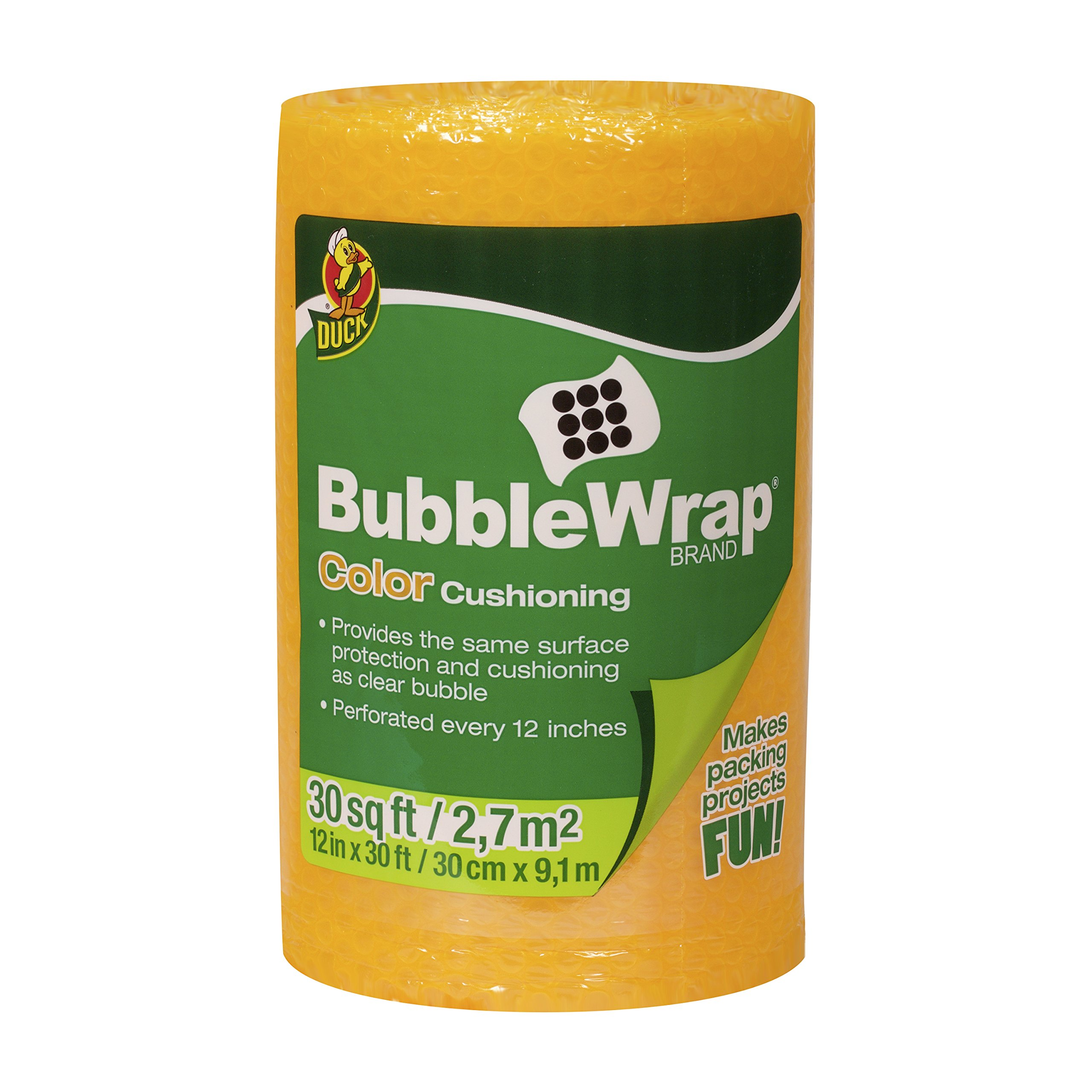 Duck Brand Bubble Wrap Color Cushioning, 12 Inches Wide x 30 Feet Long, Single Roll, Orange (282477)