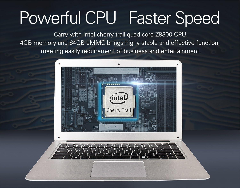 Jumper EZbook 2 FHD 4 GB RAM 64 GB eMMC computadora portátil 14,1 pulgadas Intel Quad Core Windows 10 1080P HD Graphics 500 Plata Notebook: Amazon.es: Informática