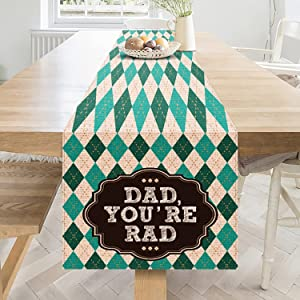 YIWANDA Happy Father's Day Table Runner, Fathers Day Burlap Table Runner Dining Kitchen Holiday Table Decorations Decors for Home Party for Dad Grandfather (13
