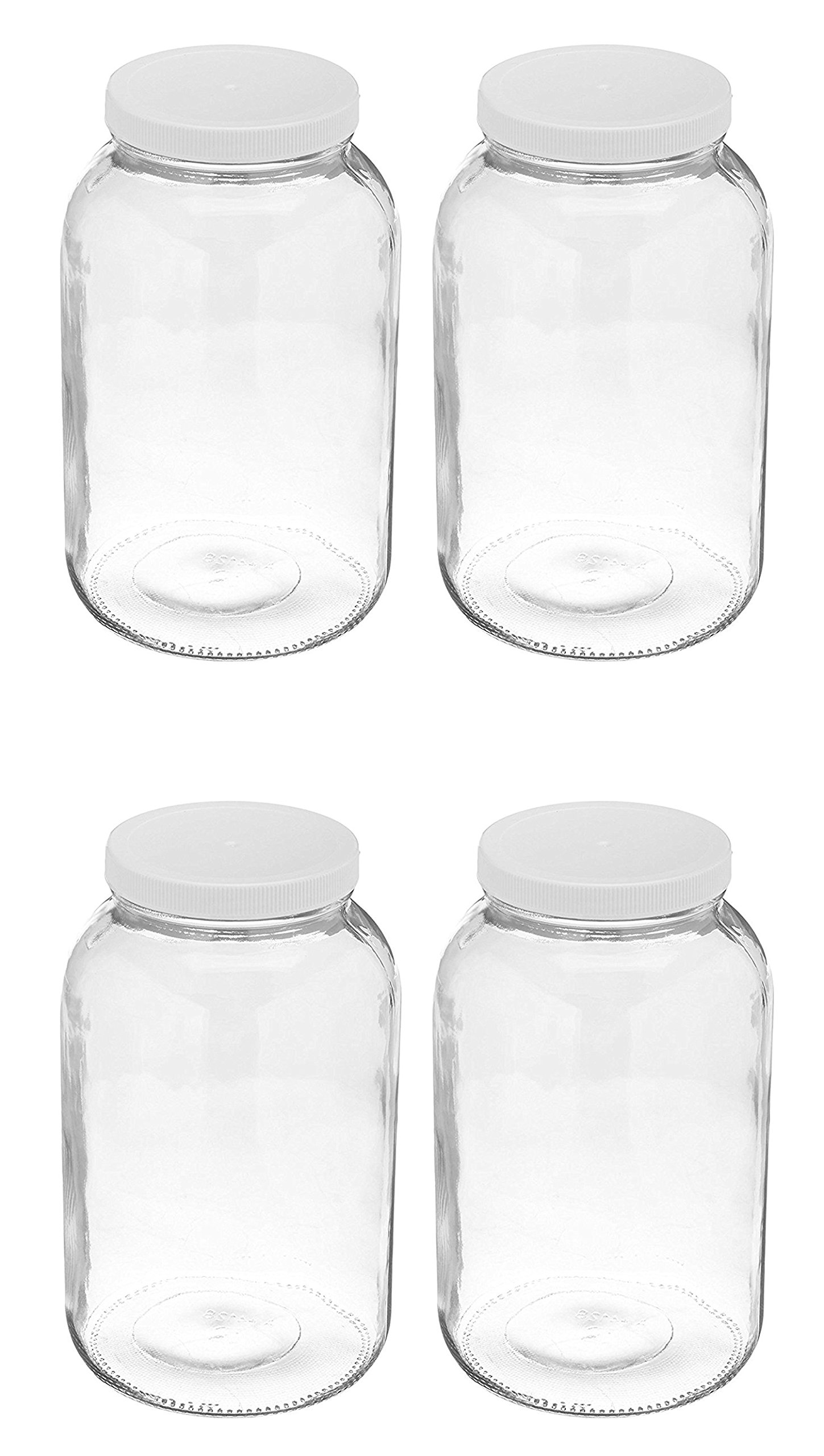 4 Pack ~ Wide Mouth 1 Gallon Clear Glass Jar - White Lid with Liner Seal for Fermenting Kombucha / Storing and Canning / USDA Approved, Dishwasher Safe by Arkansas Glass (Image #1)