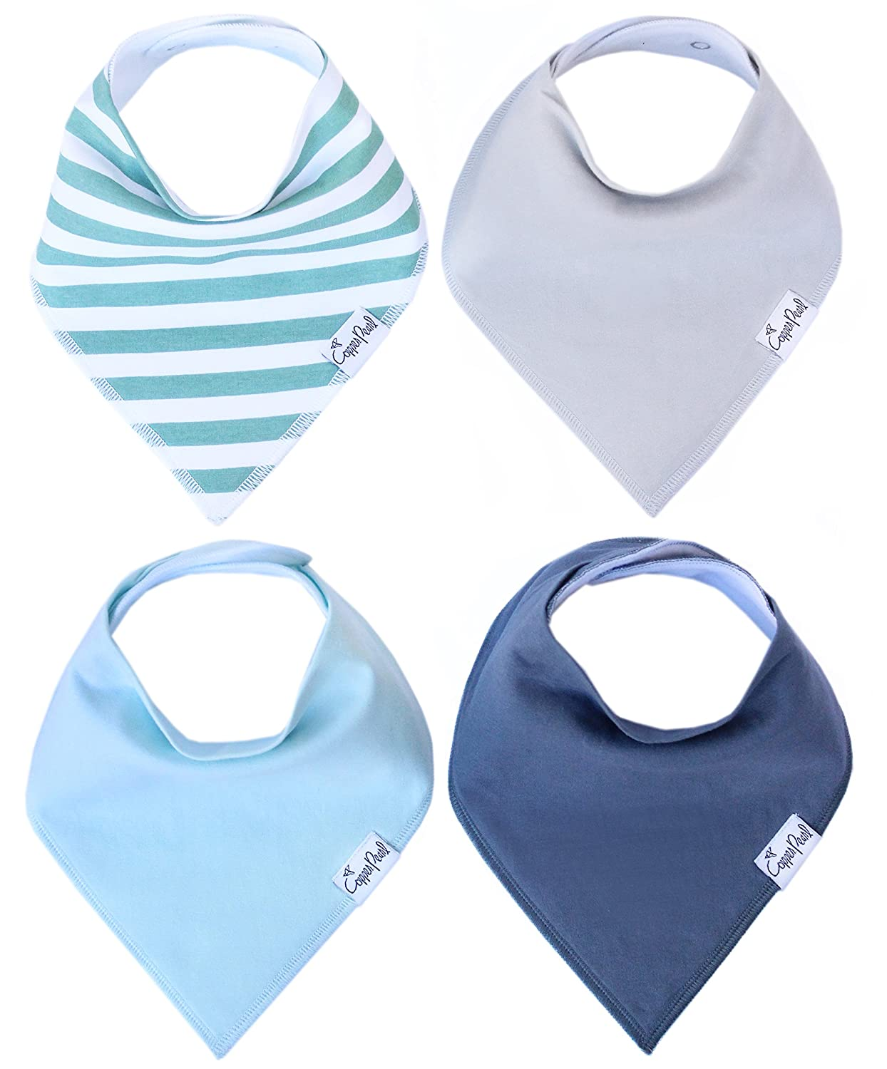 "Baby Bandana Drool Bibs for Drooling and Teething 4 Pack Gift Set For Boys ""Oxford Set"" by Copper Pearl"