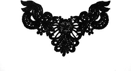 "6.5/""x4/"" Black Venice Lace Embroidery Bodice Motif Applique by Piece"