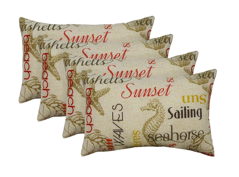 Set of 4 Indoor Outdoor Rectangle Lumbar Decorative 20 x 12 Throw Toss Pillows – Beach Buzz Choose Color Beach Buzz